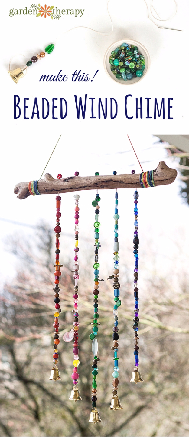 DIY Wind Chimes - Beautiful Beaded Wind Chime - Easy, Creative and Cool Windchimes Made from Wooden Beads, Pipes, Rustic Boho and Repurposed Items, Silverware, Seashells and More. Step by Step Tutorials and Instructions #windchimes #diygifts #diyideas #crafts