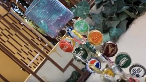 Eclectic Funky Bottle Cap Wind Chimes