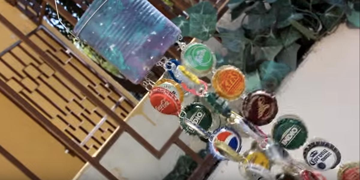 Eclectic Funky Bottle Cap Wind Chimes Are So Much Fun