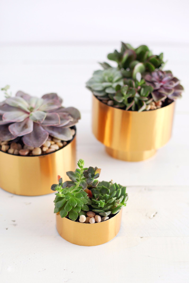 Creative DIY Planters - Brass Succulent Planter DIY - Best Do It Yourself Planters and Crafts You Can Make For Your Plants - Indoor and Outdoor Gardening Ideas - Cool Modern and Rustic Home and Room Decor for Planting With Step by Step Tutorials #gardening #diyplanters #diyhomedecor