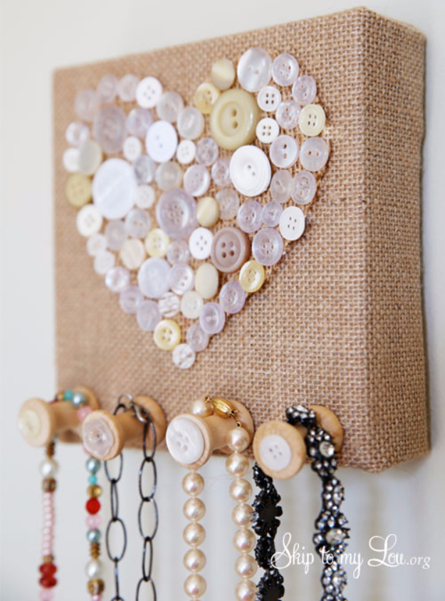 DIY Projects to Make and Sell on Etsy - Burlap And Vintage Button Jewelry Holder - Learn How To Make Money on Etsy With these Awesome, Cool and Easy Crafts and Craft Project Ideas - Cheap and Creative Crafts to Make and Sell for Etsy Shop #etsy #crafts