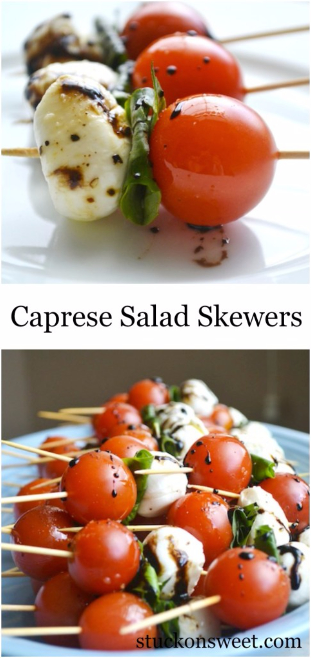 Last Minute Party Foods - Caprese Salad Skewers - Easy Appetizers, Simple Snacks, Ideas for 4th of July Parties, Cookouts and BBQ With Friends. Quick and Cheap Food Ideas for a Crowd#appetizers #recipes #party