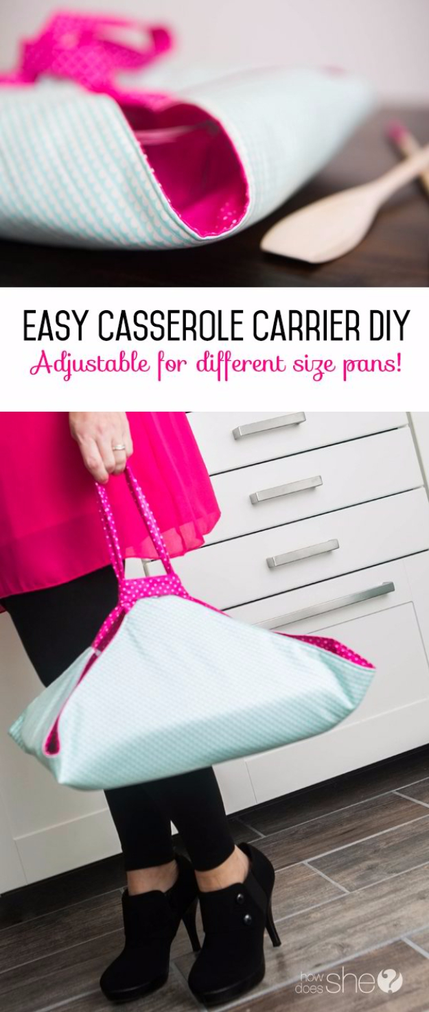 Sewing Crafts To Make and Sell - Casserole Carrier Easy DIY - Easy DIY Sewing Ideas To Make and Sell for Your Craft Business. Make Money with these Simple Gift Ideas, Free Patterns, Products from Fabric Scraps, Cute Kids Tutorials #sewing #crafts