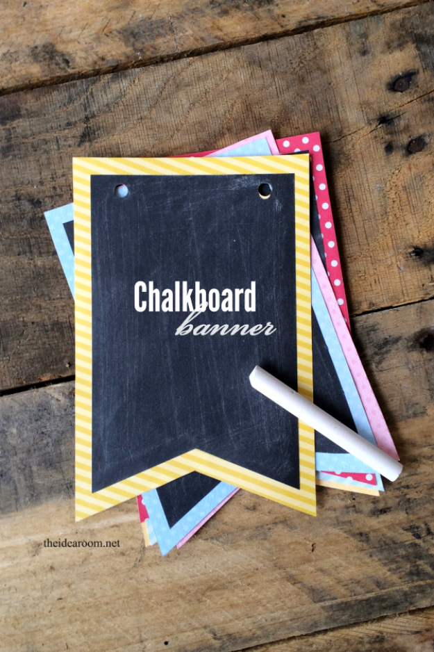 DIY Projects for Teenagers - Chalkboard Banner - Cool Teen Crafts Ideas for Bedroom Decor, Gifts, Clothes and Fun Room Organization. Summer and Awesome School Stuff