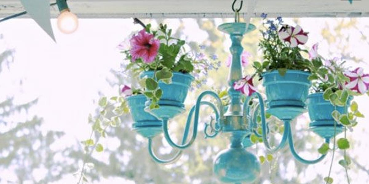 DIY Chandelier Ideas and Project Tutorials - ChandelierPlanter - Easy Makeover Tips, Rustic Pipe, Crystal, Rustic, Mason Jar, Beads. Bedroom, Outdoor and Wedding Girls Room Lighting Ideas With Step by Step Instructions http://diyjoy.com/diy-chandelier-ideas