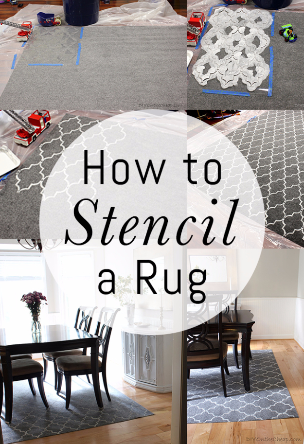 Easy DIY Rugs and Handmade Rug Making Project Ideas - Cheap Stenciled Rug Tutorial - Simple Home Decor for Your Floors, Fabric, Area, Painting Ideas, Rag Rugs, No Sew, Dropcloth and Braided Rug Tutorials