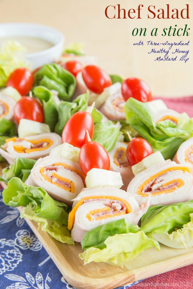 Last Minute Party Foods - Chef Salad On A Stick - Easy Appetizers, Simple Snacks, Ideas for 4th of July Parties, Cookouts and BBQ With Friends. Quick and Cheap Food Ideas for a Crowd#appetizers #recipes #party