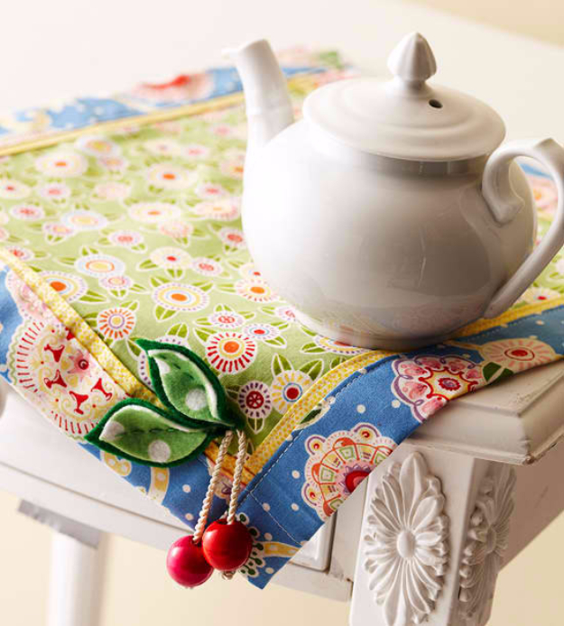 Sewing Crafts To Make and Sell - Cherry Table Mat - Easy DIY Sewing Ideas To Make and Sell for Your Craft Business. Make Money with these Simple Gift Ideas, Free Patterns, Products from Fabric Scraps, Cute Kids Tutorials #sewing #crafts
