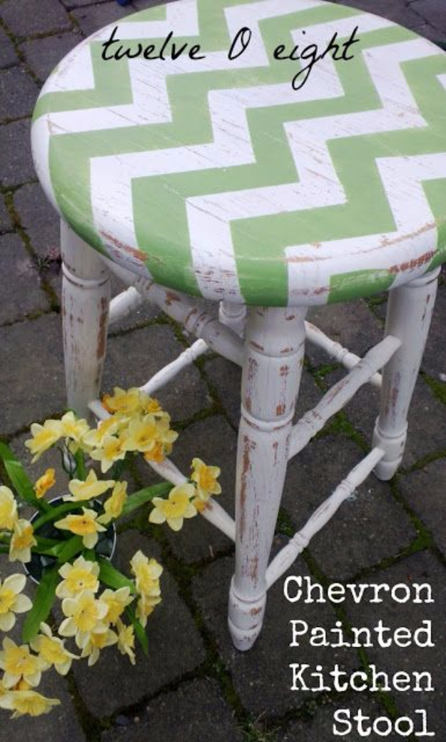 DIY Seating Ideas - Chevron Painted Kitchen Stool - Creative Indoor Furniture, Chairs and Easy Seat Projects for Living Room, Bedroom, Dorm and Kids Room. Cheap Projects for those On A Budget. Tutorials for Cushions, No Sew Covers and Benches