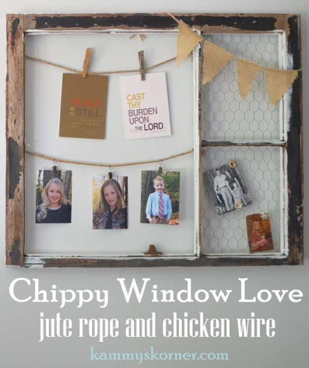 41 More DIY Farmhouse Style Decor Ideas - Chippy Window Love With Chicken Wire And Jute - Creative Rustic Ideas for Cool Furniture, Paint Colors, Farm House Decoration for Living Room, Kitchen and Bedroom http://diyjoy.com/diy-farmhouse-decor-projects