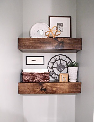 DIY Shelves and Do It Yourself Shelving Ideas - Chunky Wood Bathroom Shelves - Easy Step by Step Shelf Projects for Bedroom, Bathroom, Closet, Wall, Kitchen and Apartment. Floating Units, Rustic Pallet Looks and Simple Storage Plans #diy #diydecor #homeimprovement #shelves