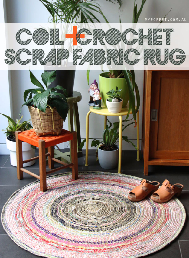 Easy DIY Rugs and Handmade Rug Making Project Ideas - Coil Crochet Scrap Fabric Rug DIY - Simple Home Decor for Your Floors, Fabric, Area, Painting Ideas, Rag Rugs, No Sew, Dropcloth and Braided Rug Tutorials