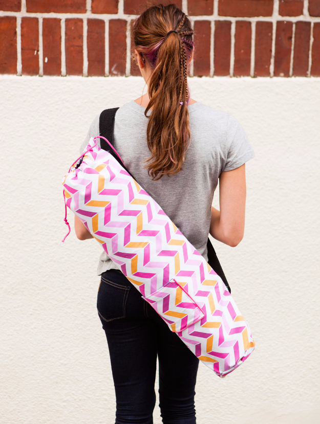 Sewing Crafts To Make and Sell - Colorful Custom Yoga Mat Bag - Easy DIY Sewing Ideas To Make and Sell for Your Craft Business. Make Money with these Simple Gift Ideas, Free Patterns, Products from Fabric Scraps, Cute Kids Tutorials #sewing #crafts