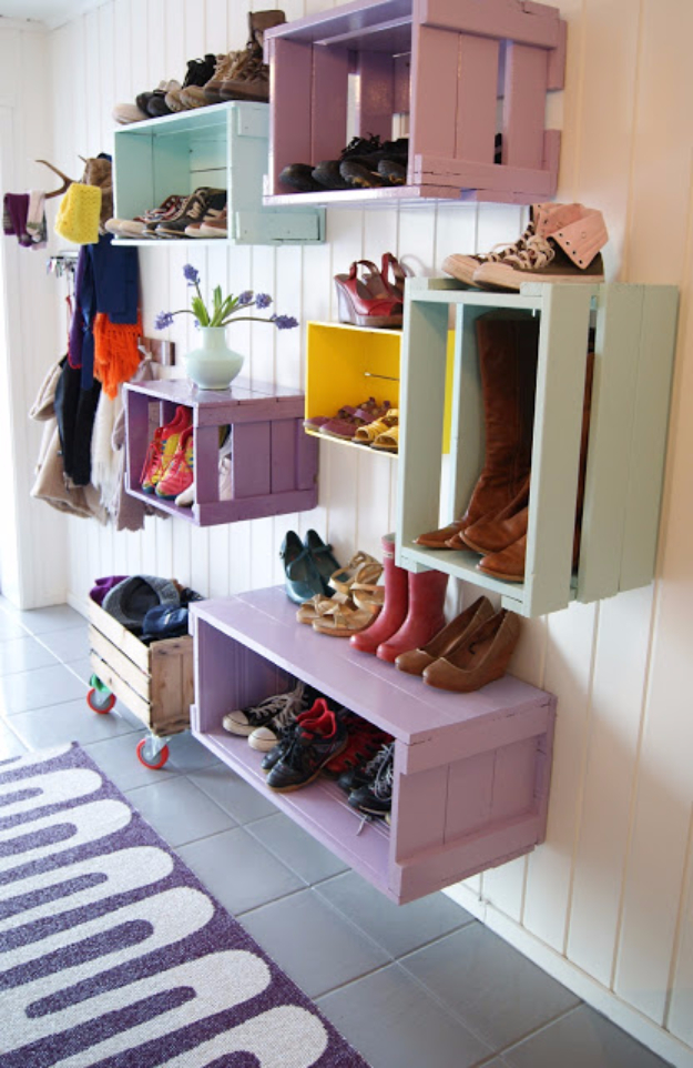 DIY Ideas for Your Entry - Colorful Entryway Crates - Cool and Creative Home Decor or Entryway and Hall. Modern, Rustic and Classic Decor on a Budget. Impress House Guests and Fall in Love With These DIY Furniture and Wall Art Ideas #diydecor #diyhomedecor