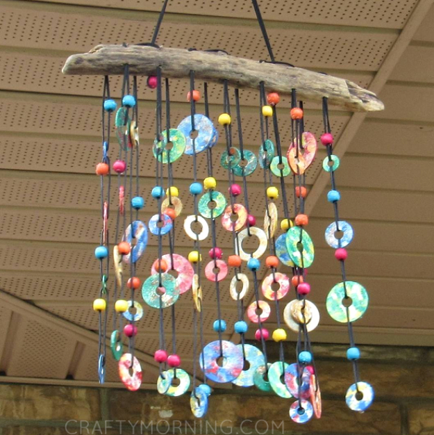DIY Wind Chimes - Colorful Metal Washer Wind Chime - Easy, Creative and Cool Windchimes Made from Wooden Beads, Pipes, Rustic Boho and Repurposed Items, Silverware, Seashells and More. Step by Step Tutorials and Instructions #windchimes #diygifts #diyideas #crafts