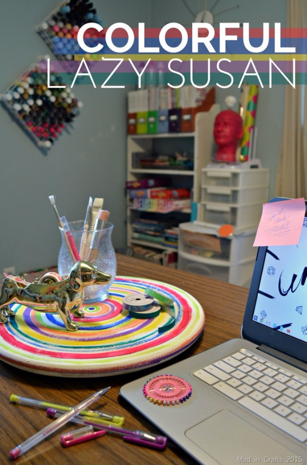 DIY Projects for Teenagers - Colorfully Painted Lazy Susan - Cool Teen Crafts Ideas for Bedroom Decor, Gifts, Clothes and Fun Room Organization. Summer and Awesome School Stuff