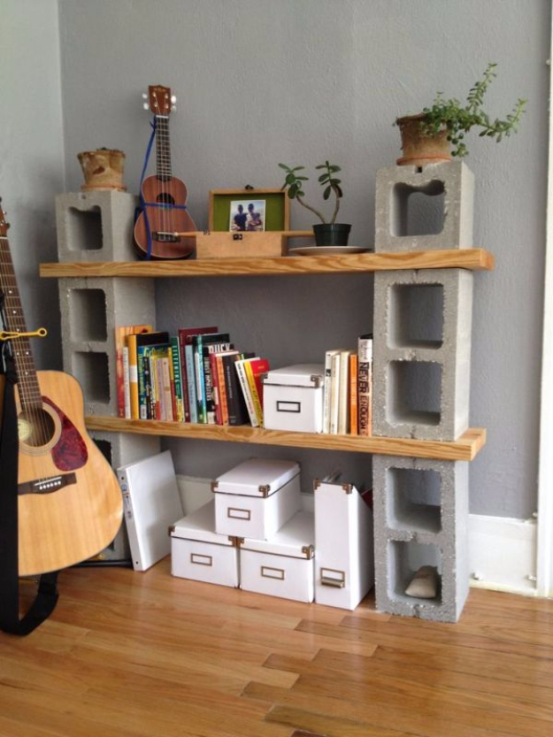 DIY Shelves and Do It Yourself Shelving Ideas - Concrete Shelves - Easy Step by Step Shelf Projects for Bedroom, Bathroom, Closet, Wall, Kitchen and Apartment. Floating Units, Rustic Pallet Looks and Simple Storage Plans #diy #diydecor #homeimprovement #shelves