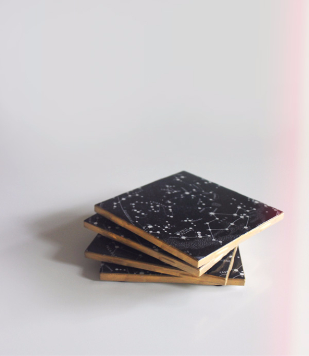 DIY Projects for Teenagers - Constellation Coasters - Cool Teen Crafts Ideas for Bedroom Decor, Gifts, Clothes and Fun Room Organization. Summer and Awesome School Stuff