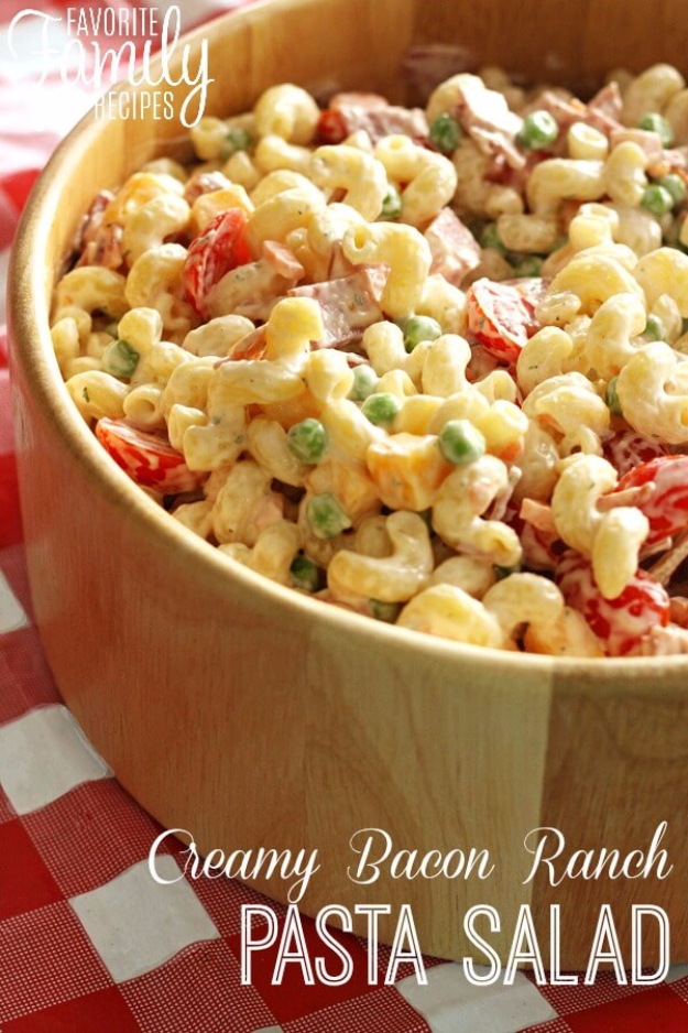 Last Minute Party Foods - Creamy Bacon Ranch Pasta Salad - Easy Appetizers, Simple Snacks, Ideas for 4th of July Parties, Cookouts and BBQ With Friends. Quick and Cheap Food Ideas for a Crowd#appetizers #recipes #party