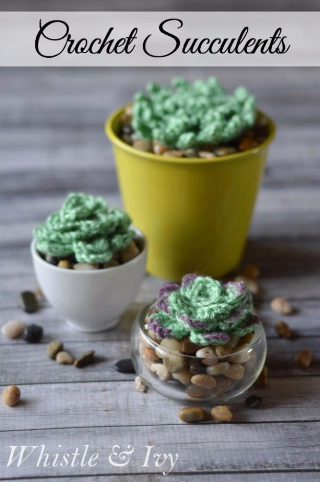 Cheap Crafts To Make and Sell - Crochet Succulents - Inexpensive Ideas for DIY Craft Projects You Can Make and Sell On Etsy, at Craft Fairs, Online and in Stores. Quick and Cheap DIY Ideas that Adults and Even Teens Can Make on A Budget #diy #crafts #craftstosell #cheapcrafts