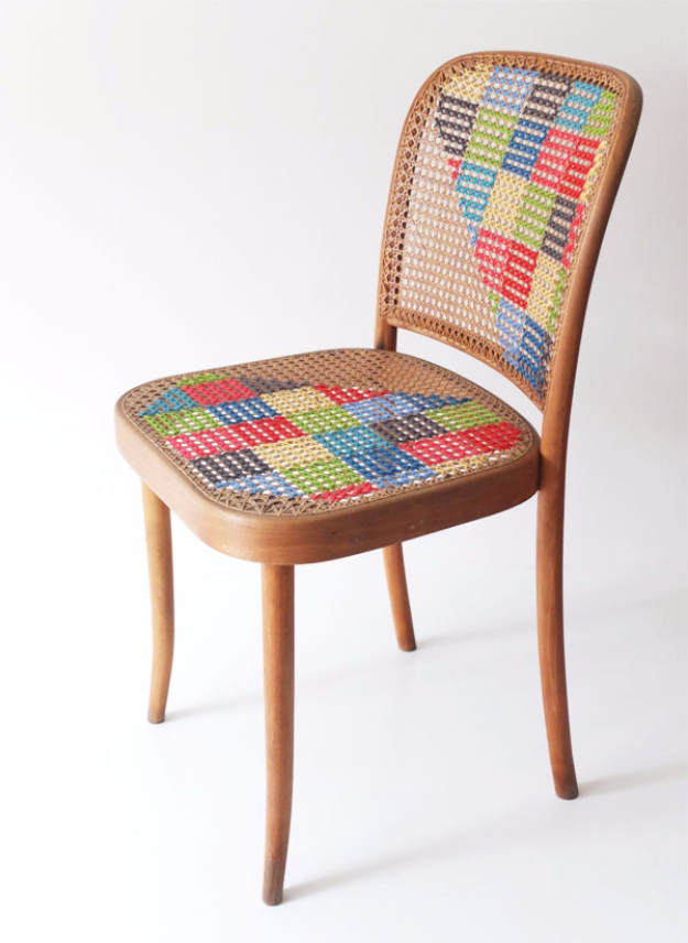 DIY Seating Ideas - Cross Stitch Chair - Creative Indoor Furniture, Chairs and Easy Seat Projects for Living Room, Bedroom, Dorm and Kids Room. Cheap Projects for those On A Budget. Tutorials for Cushions, No Sew Covers and Benches