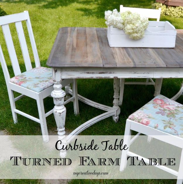 DIY Dining Room Table Projects - Curbside Table Turned Farm Table - Creative Do It Yourself Tables and Ideas You Can Make For Your Kitchen or Dining Area. Easy Step by Step Tutorials that Are Perfect For Those On A Budget #diyfurniture #diningroom