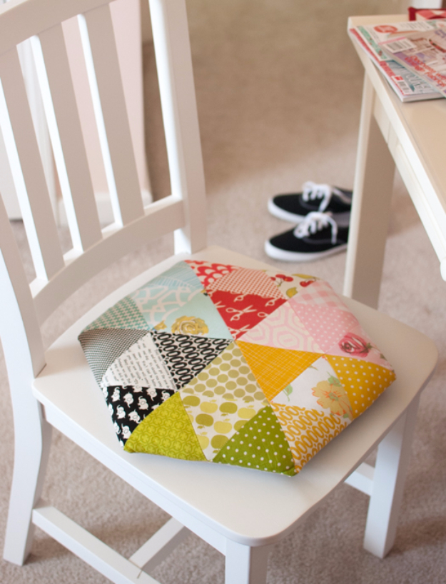 Sewing Crafts To Make and Sell - Cute Triangle Chair Cushion - Easy DIY Sewing Ideas To Make and Sell for Your Craft Business. Make Money with these Simple Gift Ideas, Free Patterns, Products from Fabric Scraps, Cute Kids Tutorials #sewing #crafts