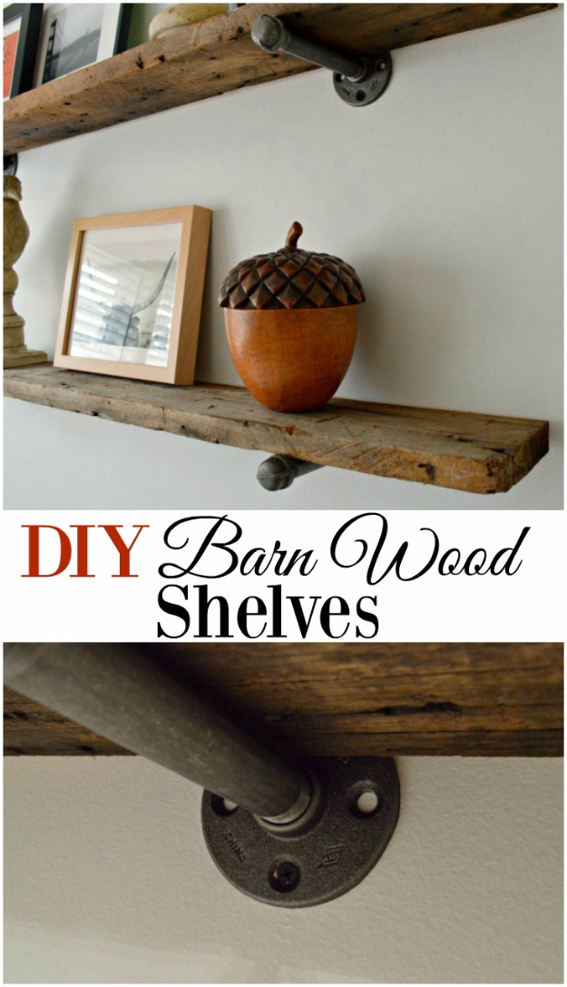 DIY Shelves and Do It Yourself Shelving Ideas - DIY Barn Wood Shelves - Easy Step by Step Shelf Projects for Bedroom, Bathroom, Closet, Wall, Kitchen and Apartment. Floating Units, Rustic Pallet Looks and Simple Storage Plans #diy #diydecor #homeimprovement #shelves