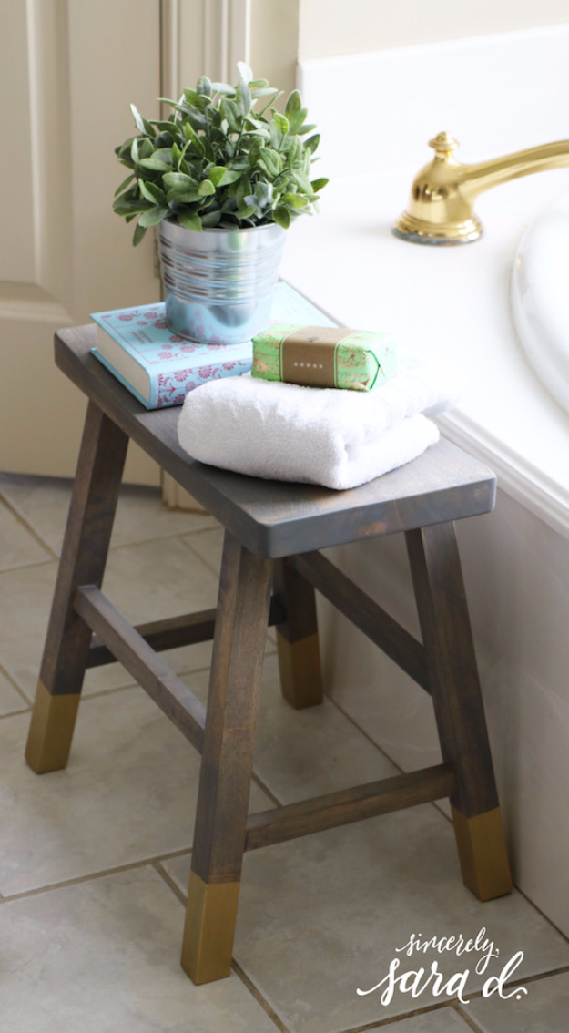 DIY Seating Ideas - DIY Bathroom Stool - Creative Indoor Furniture, Chairs and Easy Seat Projects for Living Room, Bedroom, Dorm and Kids Room. Cheap Projects for those On A Budget. Tutorials for Cushions, No Sew Covers and Benches