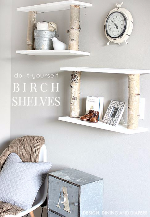 DIY Shelves and Do It Yourself Shelving Ideas - DIY Birch Shelves - Easy Step by Step Shelf Projects for Bedroom, Bathroom, Closet, Wall, Kitchen and Apartment. Floating Units, Rustic Pallet Looks and Simple Storage Plans #diy #diydecor #homeimprovement #shelves