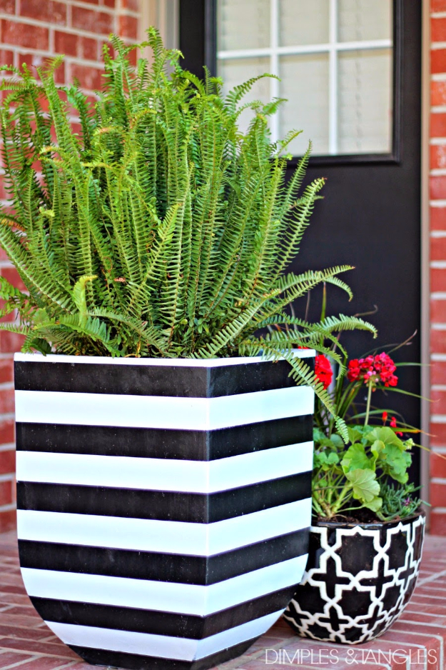 Creative DIY Planters - DIY Black And White Striped Pots - Best Do It Yourself Planters and Crafts You Can Make For Your Plants - Indoor and Outdoor Gardening Ideas - Cool Modern and Rustic Home and Room Decor for Planting With Step by Step Tutorials #gardening #diyplanters #diyhomedecor