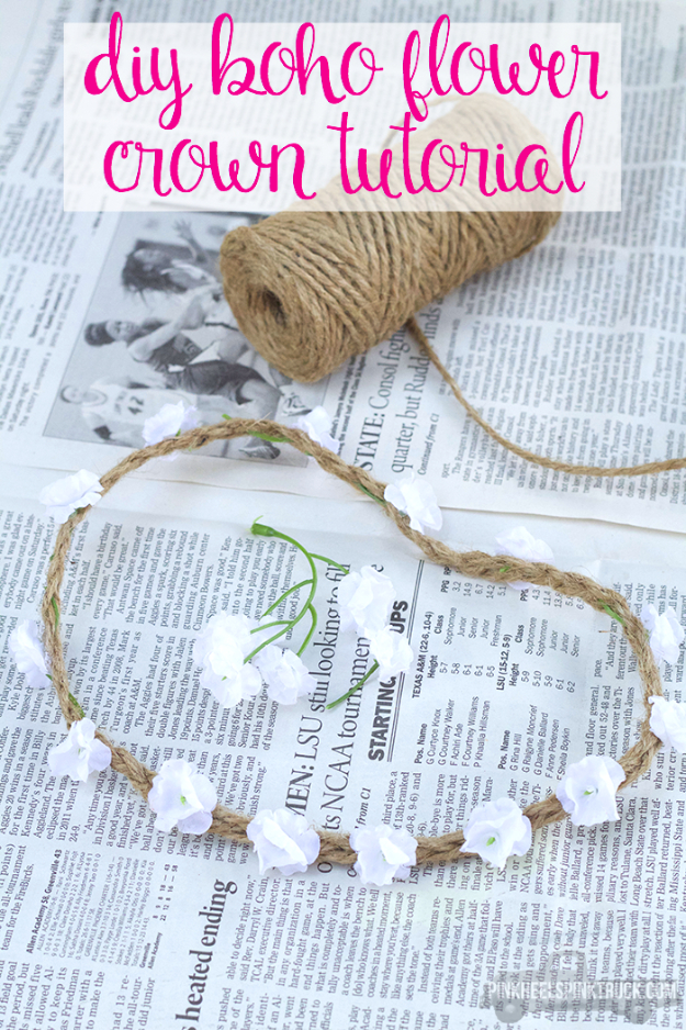 DIY Projects for Teenagers - DIY Boho Flower Crown - Cool Teen Crafts Ideas for Bedroom Decor, Gifts, Clothes and Fun Room Organization. Summer and Awesome School Stuff