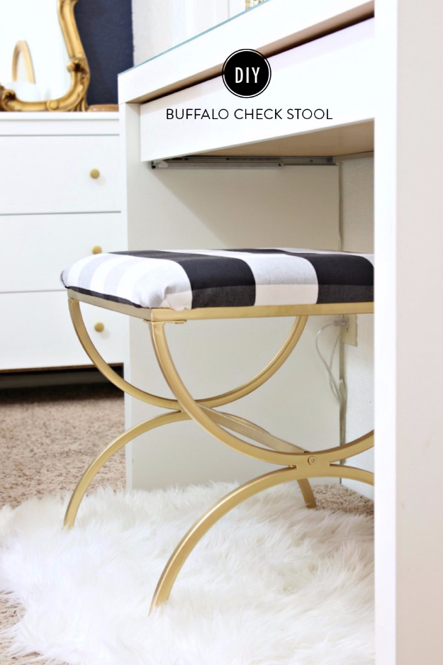 DIY Seating Ideas - DIY Buffalo Check Vanity Stool - Creative Indoor Furniture, Chairs and Easy Seat Projects for Living Room, Bedroom, Dorm and Kids Room. Cheap Projects for those On A Budget. Tutorials for Cushions, No Sew Covers and Benches