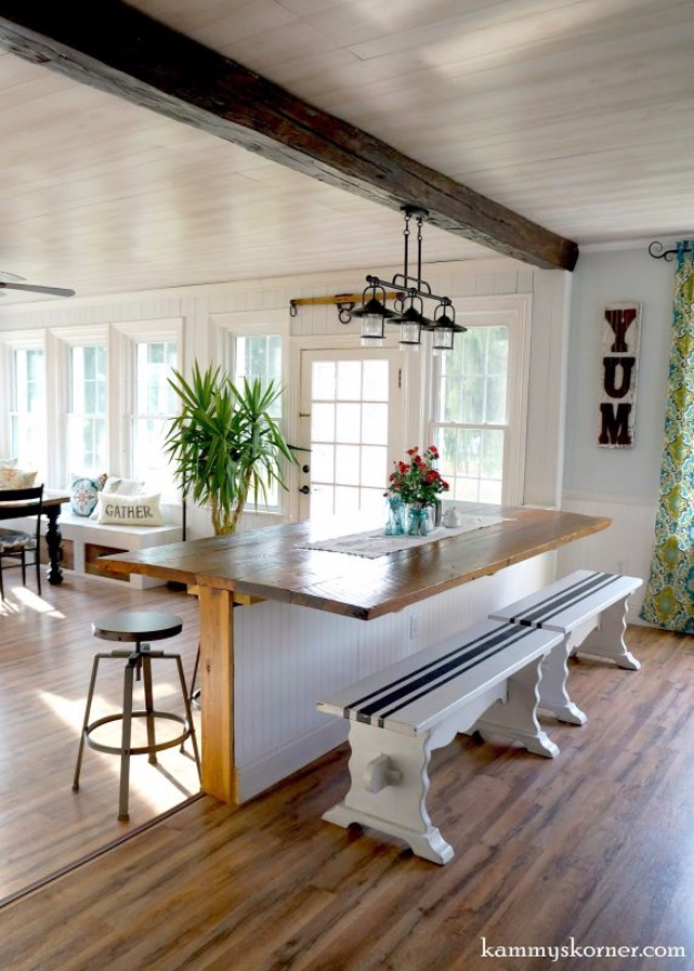 DIY Dining Room Table Projects - DIY Built In Breakfast Bar Dining Table - Creative Do It Yourself Tables and Ideas You Can Make For Your Kitchen or Dining Area. Easy Step by Step Tutorials that Are Perfect For Those On A Budget #diyfurniture #diningroom