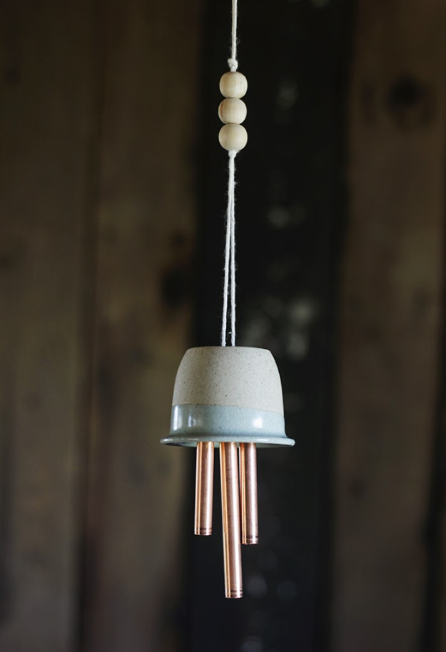 DIY Wind Chimes - DIY Ceramic Copper Wind Chimes - Easy, Creative and Cool Windchimes Made from Wooden Beads, Pipes, Rustic Boho and Repurposed Items, Silverware, Seashells and More. Step by Step Tutorials and Instructions #windchimes #diygifts #diyideas #crafts