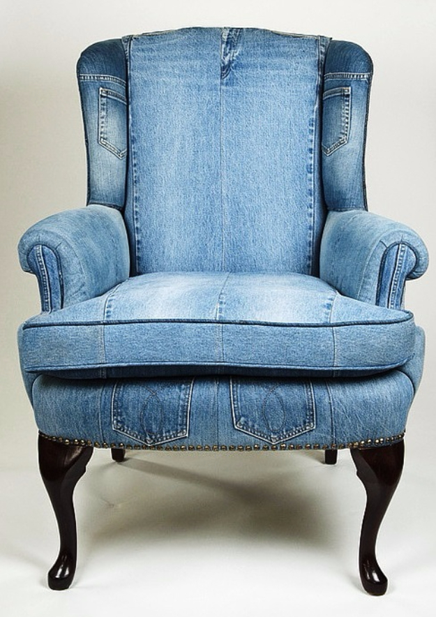 DIY Seating Ideas - DIY Chair Renovation With Jeans - Creative Indoor Furniture, Chairs and Easy Seat Projects for Living Room, Bedroom, Dorm and Kids Room. Cheap Projects for those On A Budget. Tutorials for Cushions, No Sew Covers and Benches