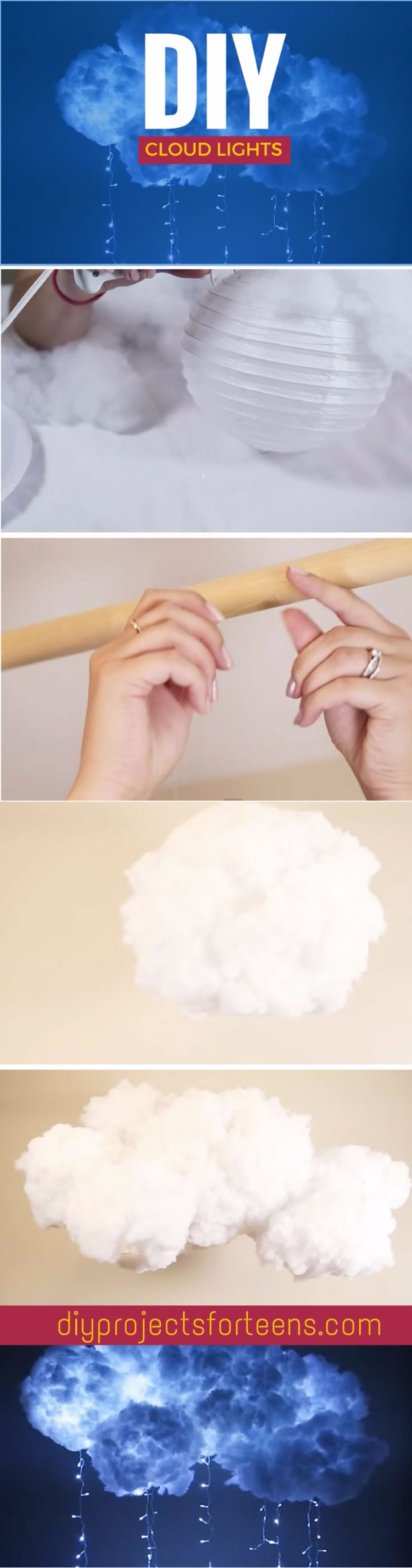 DIY Projects for Teenagers - DIY Cloud Light - Cool Teen Crafts Ideas for Bedroom Decor, Gifts, Clothes and Fun Room Organization. Summer and Awesome School Stuff