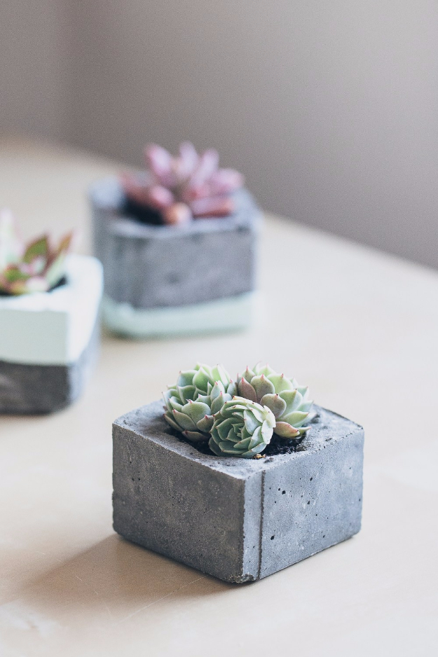 Creative DIY Planters - DIY Concrete Planters - Best Do It Yourself Planters and Crafts You Can Make For Your Plants - Indoor and Outdoor Gardening Ideas - Cool Modern and Rustic Home and Room Decor for Planting With Step by Step Tutorials #gardening #diyplanters #diyhomedecor
