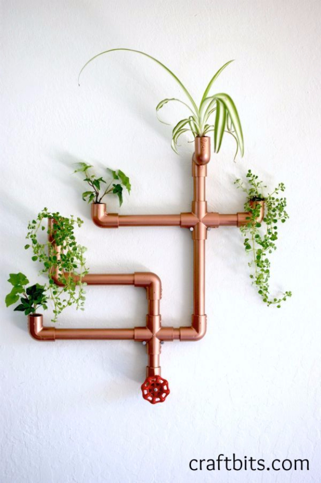 Creative DIY Planters - DIY Copper PVC Wall Planter - Best Do It Yourself Planters and Crafts You Can Make For Your Plants - Indoor and Outdoor Gardening Ideas - Cool Modern and Rustic Home and Room Decor for Planting With Step by Step Tutorials #gardening #diyplanters #diyhomedecor