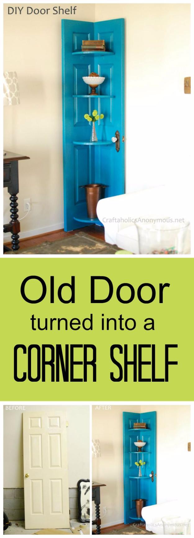 diy shelves and do it yourself shelving ideas   diy corner door shelf