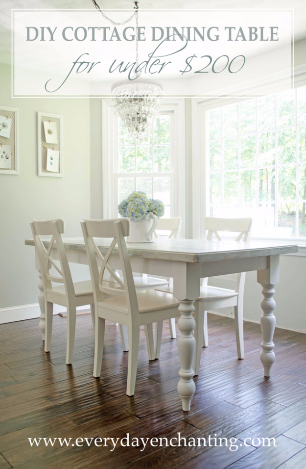 DIY Dining Room Table Projects - DIY Cottage Dining Table Tutorial - Creative Do It Yourself Tables and Ideas You Can Make For Your Kitchen or Dining Area. Easy Step by Step Tutorials that Are Perfect For Those On A Budget #diyfurniture #diningroom