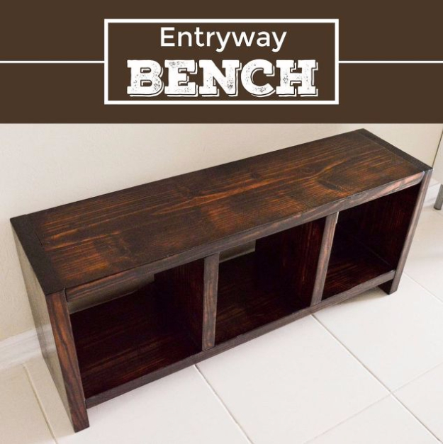 DIY Ideas for Your Entry - DIY Entry Way Bench - Cool and Creative Home Decor or Entryway and Hall. Modern, Rustic and Classic Decor on a Budget. Impress House Guests and Fall in Love With These DIY Furniture and Wall Art Ideas #diydecor #diyhomedecor