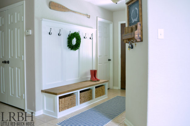 DIY Ideas for Your Entry - DIY Entry Way Mudroom Reveal - Cool and Creative Home Decor or Entryway and Hall. Modern, Rustic and Classic Decor on a Budget. Impress House Guests and Fall in Love With These DIY Furniture and Wall Art Ideas http://diyjoy.com/diy-home-decor-entry