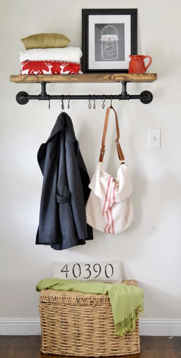 DIY Ideas for Your Entry - DIY Entryway Industrial Coat Rack - Cool and Creative Home Decor or Entryway and Hall. Modern, Rustic and Classic Decor on a Budget. Impress House Guests and Fall in Love With These DIY Furniture and Wall Art Ideas http://diyjoy.com/diy-home-decor-entry