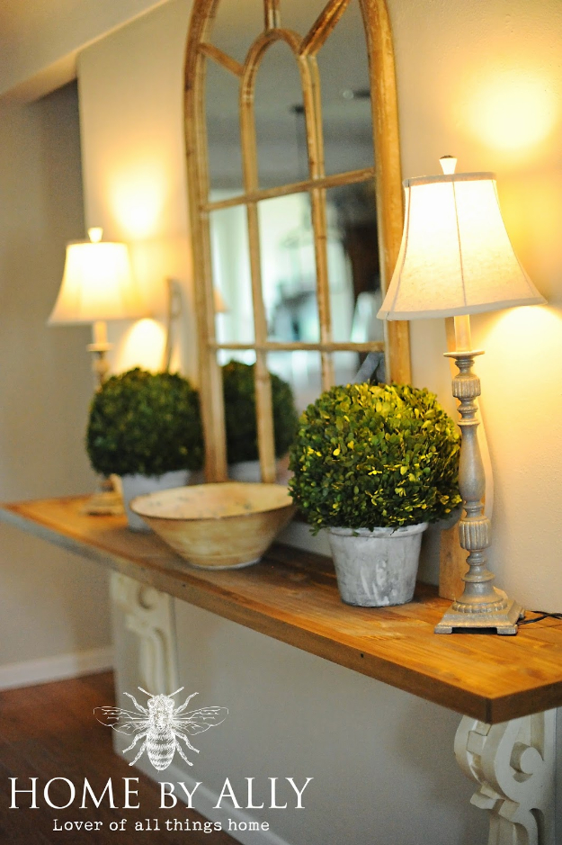 DIY Ideas for Your Entry - DIY Entryway Table Using Corbels - Cool and Creative Home Decor or Entryway and Hall. Modern, Rustic and Classic Decor on a Budget. Impress House Guests and Fall in Love With These DIY Furniture and Wall Art Ideas http://diyjoy.com/diy-home-decor-entry