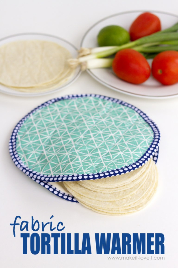 Sewing Crafts To Make and Sell - DIY Fabric Tortilla Warmer - Easy DIY Sewing Ideas To Make and Sell for Your Craft Business. Make Money with these Simple Gift Ideas, Free Patterns, Products from Fabric Scraps, Cute Kids Tutorials #sewing #crafts
