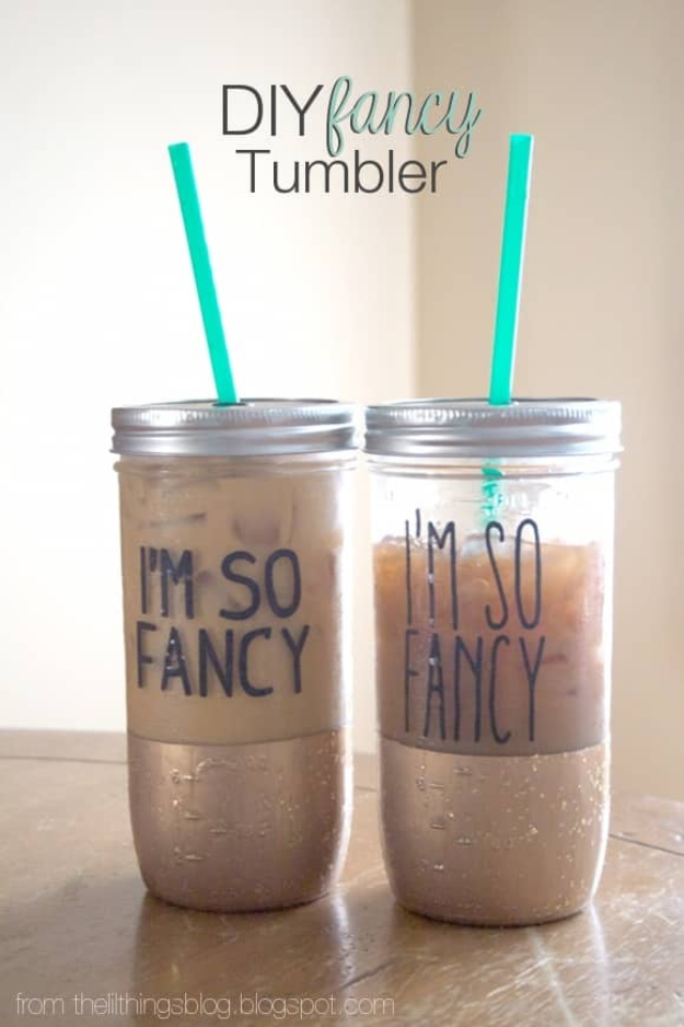 DIY Projects for Teenagers - DIY Fancy Tumbler - Cool Teen Crafts Ideas for Bedroom Decor, Gifts, Clothes and Fun Room Organization. Summer and Awesome School Stuff