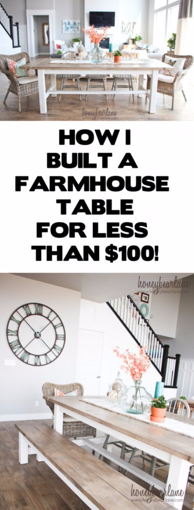 DIY Dining Room Table Projects - DIY Farmhouse Table For $100 - Creative Do It Yourself Tables and Ideas You Can Make For Your Kitchen or Dining Area. Easy Step by Step Tutorials that Are Perfect For Those On A Budget #diyfurniture #diningroom