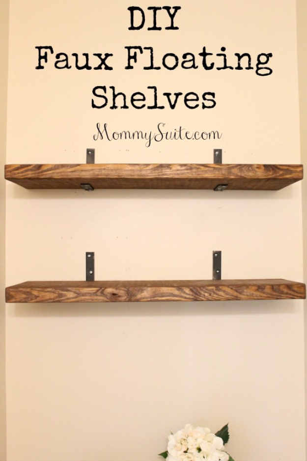 DIY Shelves and Do It Yourself Shelving Ideas - DIY Faux Floating Shelves - Easy Step by Step Shelf Projects for Bedroom, Bathroom, Closet, Wall, Kitchen and Apartment. Floating Units, Rustic Pallet Looks and Simple Storage Plans #diy #diydecor #homeimprovement #shelves