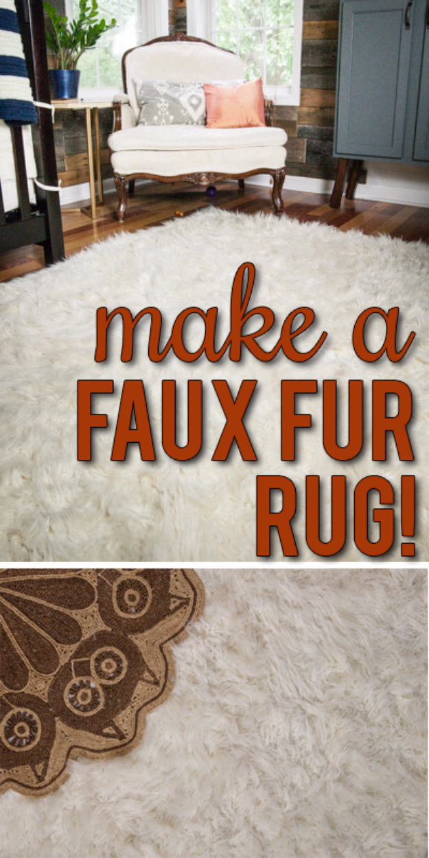Easy DIY Rugs and Handmade Rug Making Project Ideas - DIY Faux Fur Rug - Simple Home Decor for Your Floors, Fabric, Area, Painting Ideas, Rag Rugs, No Sew, Dropcloth and Braided Rug Tutorials http://diyjoy.com/diy-rugs-ideas
